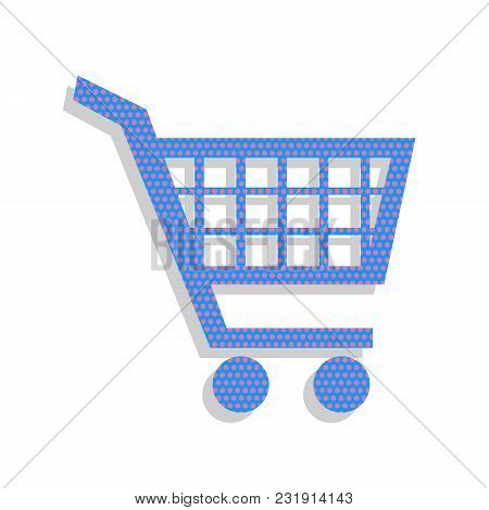 Shopping Cart Sign. Vector. Neon Blue Icon With Cyclamen Polka Dots Pattern With Light Gray Shadow O