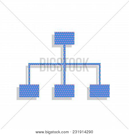 Site Map Sign. Vector. Neon Blue Icon With Cyclamen Polka Dots Pattern With Light Gray Shadow On Whi