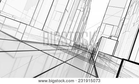 Sketch Of Modern City, Perspective View. 3d Illustration