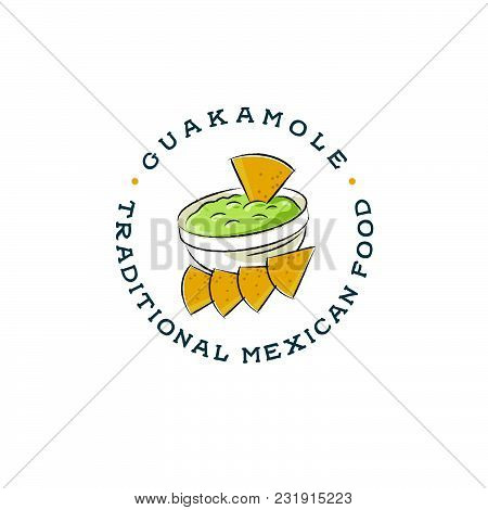 Mexican Restaurant Logo. Guacamole And Nachos Drawing. Avocado Sauce And Avocado One Cut In Half Wit