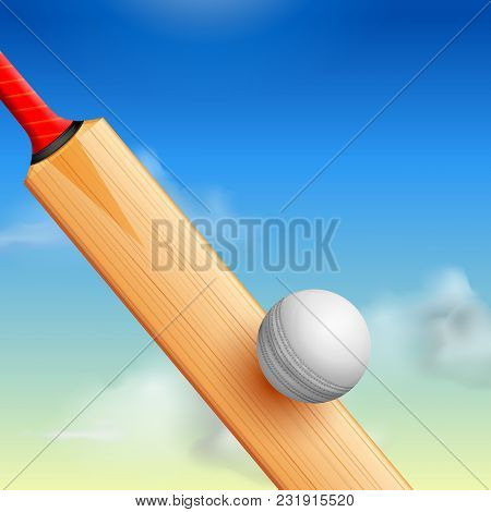 Illustration Of Cricket Bat And Ball Striking On Sports Background