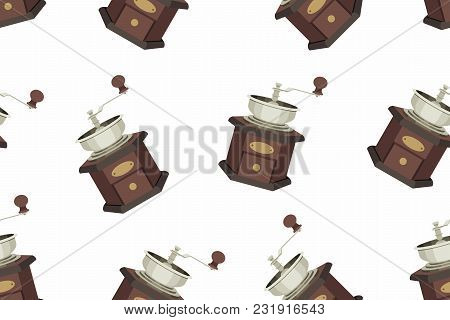 Coffee Grinder Seamless Pattern. Isolated On White Background