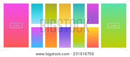 Color Gradient Modern Background Set. Screen Vector Design For Mobile App. Spring, Fresh Soft Color
