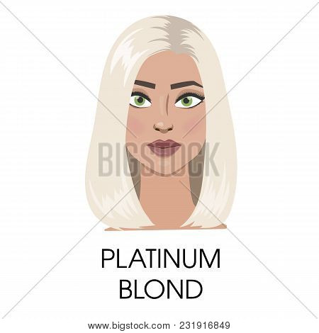 Platinum blond hair illustration. Isolated woman with blond. poster