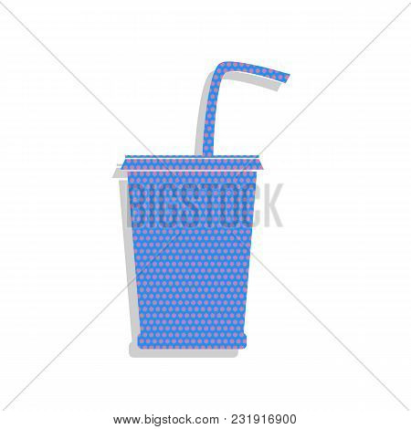 Drink Sign Illustration. Vector. Neon Blue Icon With Cyclamen Polka Dots Pattern With Light Gray Sha