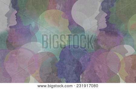 Abstract Demographics Art As A Diversity Society Background As A Color Diverse Ethnic Group Of Peopl