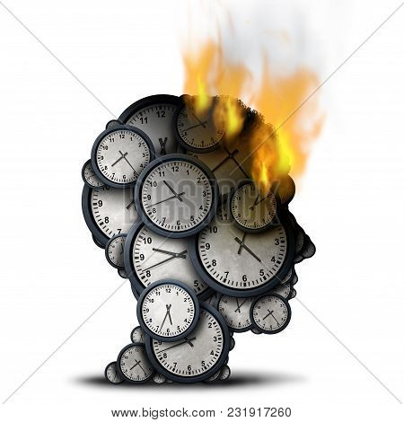 Burning Time Concept As A Business Stress Idea With A Human Head Made Of Clocks That Is On Fire As A