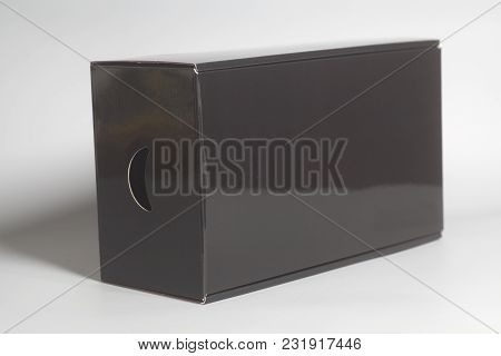 Black Carton Box  On A White Background