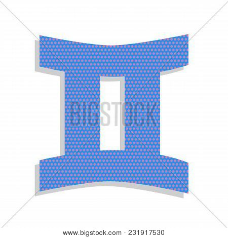 Gemini Sign. Vector. Neon Blue Icon With Cyclamen Polka Dots Pattern With Light Gray Shadow On White