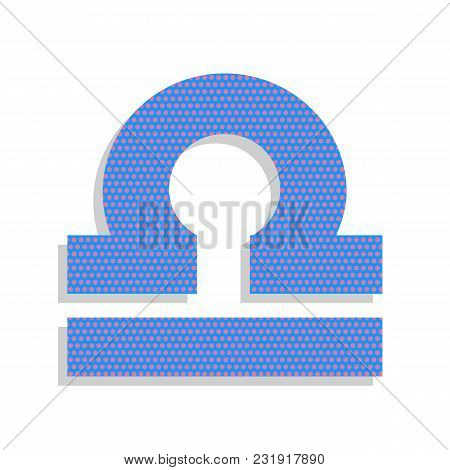 Libra Sign Illustration. Vector. Neon Blue Icon With Cyclamen Polka Dots Pattern With Light Gray Sha