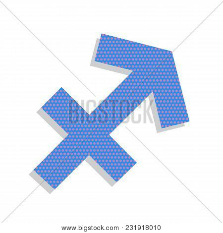 Sagittarius Sign Illustration. Vector. Neon Blue Icon With Cyclamen Polka Dots Pattern With Light Gr
