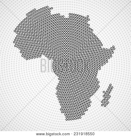 Abstract Africa Map Of Radial Dots, Halftone Concept. Vector Illustration, Eps 10