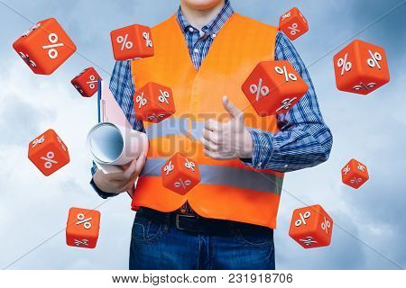 Cubes With Percent Fly On The Background Of The Builder. The Concept Of The Promotion Discount.