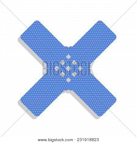 Aid Sticker Sign. Vector. Neon Blue Icon With Cyclamen Polka Dots Pattern With Light Gray Shadow On