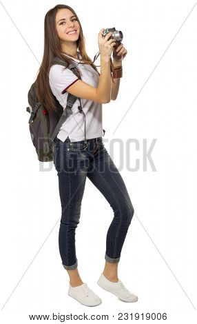 Young travelling girl isolated on white