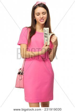 Young woman with dollars isolated