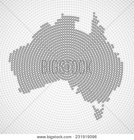 Abstract Australia Map Of Radial Dots, Halftone Concept. Vector Illustration, Eps 10