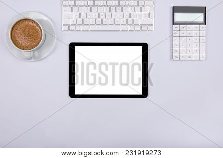 Modern Working Place On White Office Desk