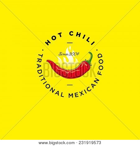 Hot Chili Pepper Logo. Pepper Icon. Chili Pepper Illustration. Traditional Mexican Food Emblem. Chil