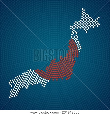 Abstract Japan Map Of Radial Dots. Vector Illustration, Eps 10