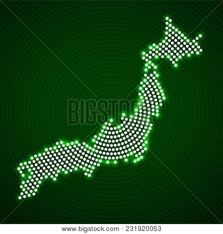 Abstract Japan Map Of Glowing Radial Dots. Vector Illustration, Eps 10