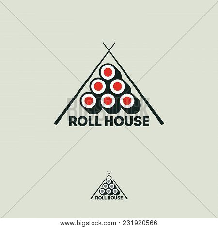 Sushi Roll House Flat Logo. Rolls And Chopsticks On A White Background.