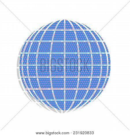 Earth Globe Sign. Vector. Neon Blue Icon With Cyclamen Polka Dots Pattern With Light Gray Shadow On