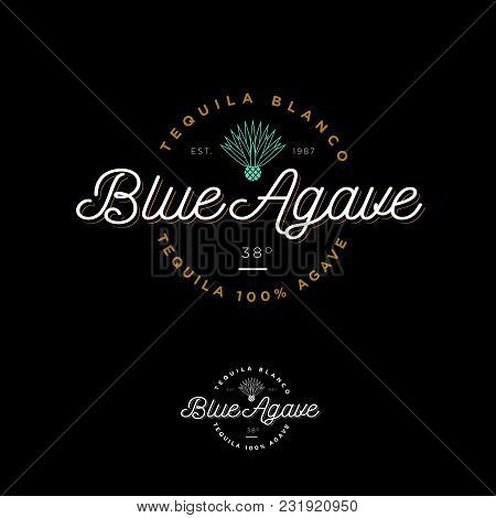 Blue Agave Tequila Logo. Emblem For The Label. Beautiful Letters And An Agave Icon On A Dark Backgro