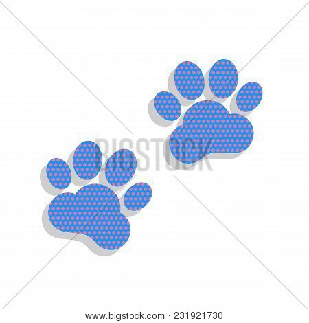 Animal Tracks Sign. Vector. Neon Blue Icon With Cyclamen Polka Dots Pattern With Light Gray Shadow O