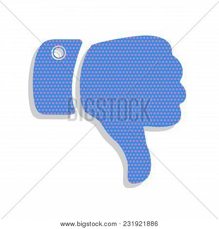 Hand Sign Illustration. Vector. Neon Blue Icon With Cyclamen Polka Dots Pattern With Light Gray Shad