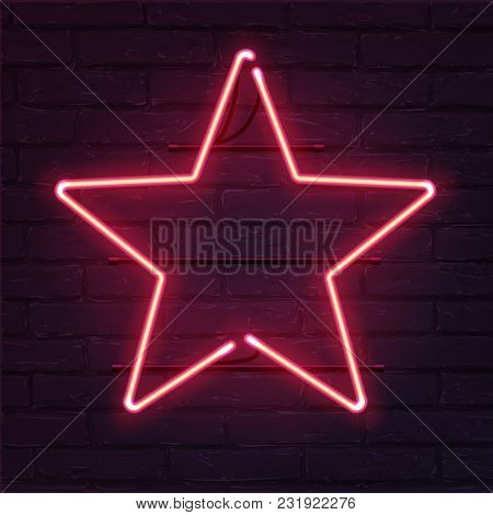 Star Pink Neon Sign. Vector Realistic Neon Star On Brick Wall