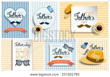 Happy Fathers Day Greeting Cards Set With Moustache.