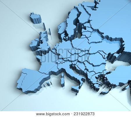 Europe 3d Map Image Illustration Continent Mainland