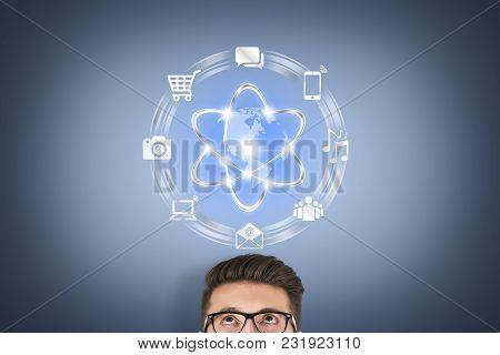 Cloud Computing Concept Over Human Head On Visual Screen