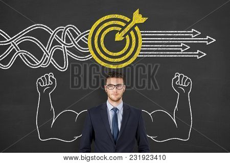 Drawing Goal Solution Concepts On Blackboard Background