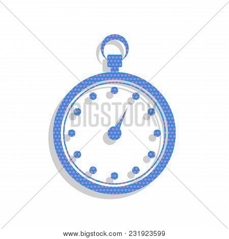 Stopwatch Sign Illustration. Vector. Neon Blue Icon With Cyclamen Polka Dots Pattern With Light Gray
