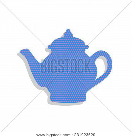 Tea Maker Sign. Vector. Neon Blue Icon With Cyclamen Polka Dots Pattern With Light Gray Shadow On Wh