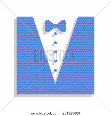 Tuxedo With Bow Silhouette. Vector. Neon Blue Icon With Cyclamen Polka Dots Pattern With Light Gray
