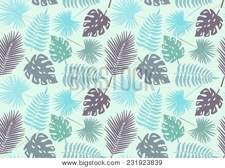 Vector Seamless Wallpaper With Background Of Decorative Tropical Foliage In Blue Shades. Jungle.