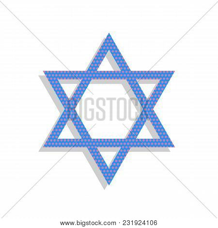 Shield Magen David Star. Symbol Of Israel. Vector. Neon Blue Icon With Cyclamen Polka Dots Pattern W