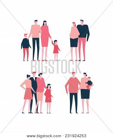 Families - Flat Design Style Set Of Isolated Characters On White Background. Cartoon Young Parents I