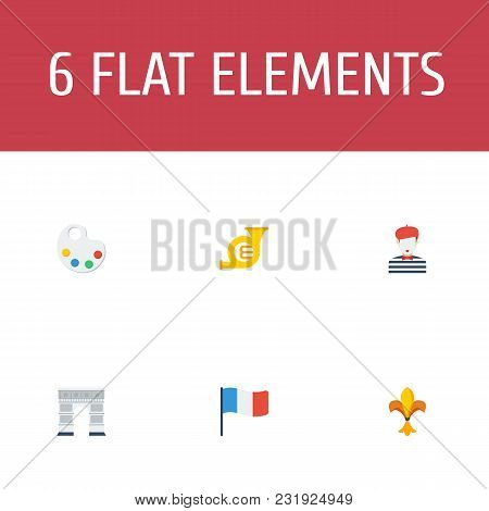 Set Of Country Icons Flat Style Symbols With France, Mime, Triumphal Arch And Other Icons For Your W