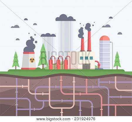 Factory With Underground Pipes - Modern Flat Design Style Vector Illustration. A Composition With A