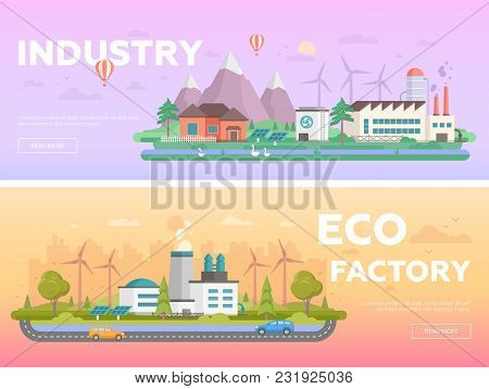 Eco Factory - Set Of Modern Flat Design Style Vector Illustrations On Orange And Lilac Background Wi