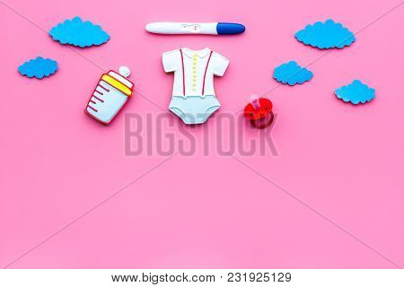 Waiting For A Baby With Positive Pregnancy Test On Pink Background Top View Mockup