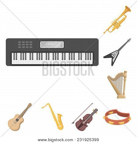 Musical Instrument Cartoon Icons In Set Collection For Design. String And Wind Instrument Vector Sym