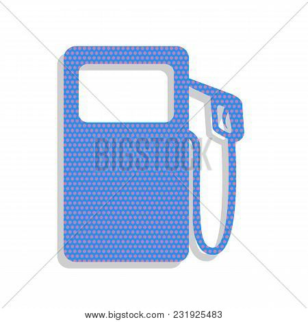 Gas Pump Sign. Vector. Neon Blue Icon With Cyclamen Polka Dots Pattern With Light Gray Shadow On Whi
