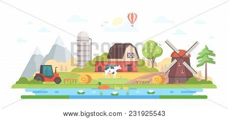 Village - Modern Flat Design Style Vector Illustration On White Background. A Composition With A Bar