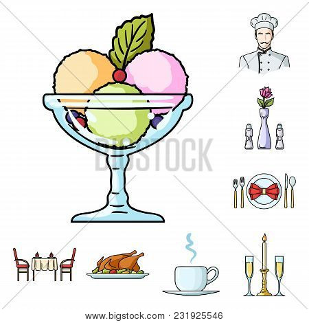 Restaurant And Bar Cartoon Icons In Set Collection For Design. Pleasure, Food And Alcohol Vector Sym