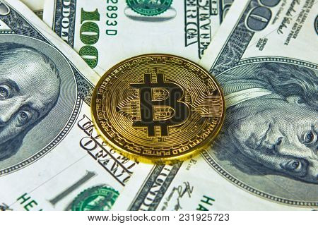 Physical Version Of Bitcoin New Virtual Money And Banknotes Of Dollars. Exchange Bitcoin For A Dolla